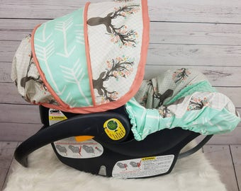 Baby car seat cover, infant seat cover for girl, Deer with mint arrow accents- custom order always comes with free strap covers