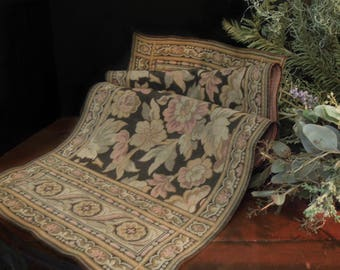 Antique Victorian Edwardian Tapestry Table Runner /  French Brocante Textile / Table Topper / Versailles Style Marie Antoinette