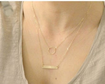 SALE - Personalized Bar Necklace Layered Set of Two, Karma Circle Necklace, Gold Silver Layering Necklaces, Everyday Wear, Dainty Layered Ba