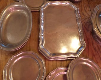 Large set of 1974 Pewter . Plates . Bowls . Dessert Plates . Serving Plates . In Great Shape!