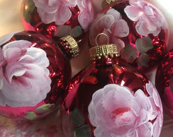 Hp shabby roses ornament balls set of 6 chic French Victorian pink