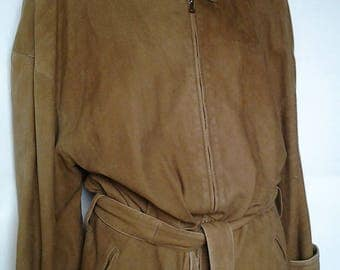 CLAUDE MONTANA for Ideal Cuir Nubuk lambskin caban/Coat/Long jacket/Jacket/Vintage/90s/Ideal Cuir/Tawny