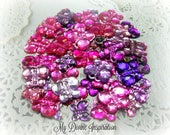 50 Flat Back Pink / Purple / Magenta Butterfly Rhinestones Acrylic Gems for Scrapbooking Cards Mini Albums and Paper crafts Jewelry DIY