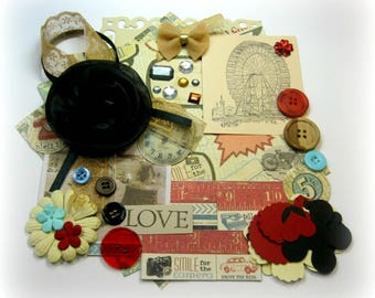 Vintage / Retro Inspiration Kit/ Embellishment Kit/ Junk Journal Kit for Scrapbooking, Layouts, Cards, Mini Albums, Tags and Paper crafts