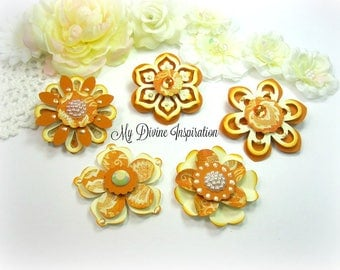 Basic Grey Piccadilly Orange and Ivory Paper Embellishments and Paper Flowers for Scrapbook Layouts Cards Mini Albums Tags Paper crafts