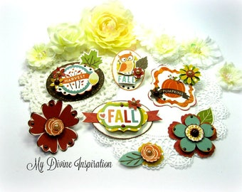 Echo Park The Story of Fall Handmade Fall Paper Embellishments for Scrapbooking Cards Mini Albums Tags Planners Journals Paper Crafts