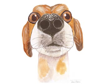 Beagle dog nose art print, house pet animal face mugshot picture, illustration watercolor painting sketchbook art, nosey hound, childs room
