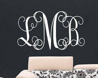 20% OFF Personalized Monogram Wall Decal - Children Wall Decal - Vinyl Lettering- Nursery Wall Decal - Wedding Monogram Decal - Vinyl Letter
