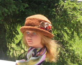 Knit Felt Brimmed Bowler Crusher Hat Gold AmberHeather Mod Pin