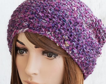 Moss Stitch Knitted Hat For Women, Slouchy Boho Beanie, Ombre Knit Hat, Slouchy Knit Hat, Multicolored Knitted Hat, Women's Knitwear