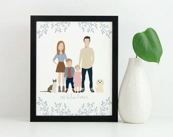 Custom Portrait Illustration | Family Illustration | Family Portrait | Pet Portrait | Wedding Gift | Christmas Gift | Personalized Gift