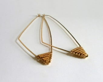 Long Gold Beaded Triangle Hoop Earrings Hammered Geometric Hoops Shape Earrings Tribal Jewelry Gold Statement  Wire Jewelry