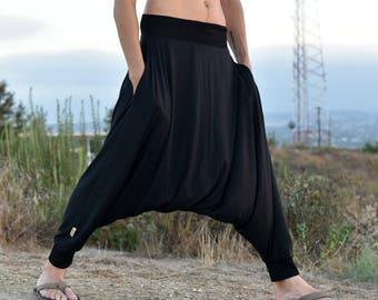 Black Harem Pants, Tall Harem Pants, Yoga Pants, Low Crotch, Men Harem Pants, Burning Man Costume, Glorka, Ninja Pants, Black Minimalist