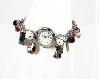 Lucky Gambling Charm Bracelet Watch, Ladies Wrist Watch, Dice Cards Slot Machine Charms, New Battery