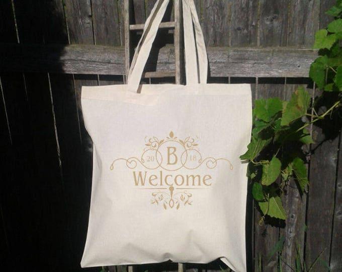 Personalized Wedding Tote, Gold, Wedding Welcome Bag, Wedding Logo, Branding, Custom Wedding Bags