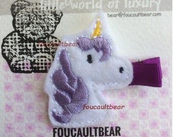 Purple Unicorn Toddler Baby Girls Felt Hair Clippie Clip