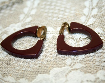 Vintage Chocolate Bakelite Triangle Hoop Clip-On Earrings