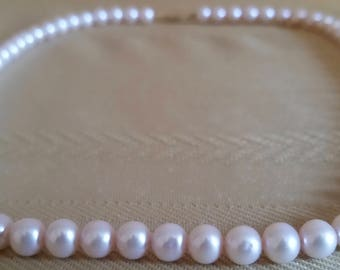 "Vintage Pink Cultured Pearl Necklace 18"" Long w/ Marked 14k Gold Lock Clasp 3/16 inch 4.7625 mm Size Pearls Strand High Fashion Formal Dress"