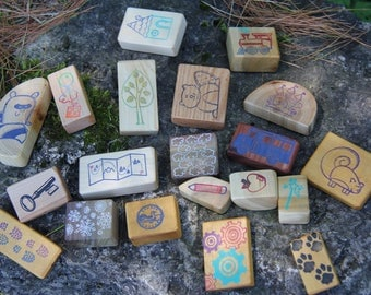 story blocks  - game -  20 small blocks made from reclaimed wood