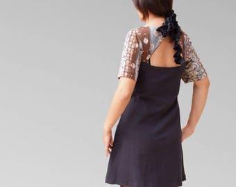Mini dress cintee flared cotton jersey short sleeve