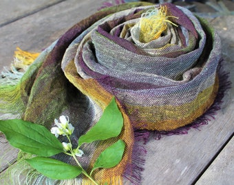 100 proc linen scarf, man scarf, woman scarf, summer accessory, green scarf, brown scarf, multicolor scarf,linen shawl, gift for her or him
