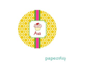 Personalized Melamine Plate, Personalized Plate, Personalized Child's Plate, Personalized Girl's Plate, Cupcake