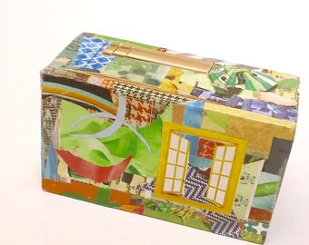 Small Collaged Wooden Box for Storage and Keepsakes