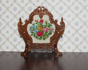 Dollhouse Miniature Firescreen Needlepoint Petit Point 3