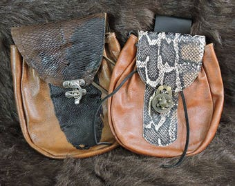 In Stock XLarge Economy Sporran Design Leather Belt Bag / Pouch Medieval, Bushcraft, Costume, Ren Faire, Brown Beaver