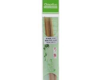 "Chiao Goo Double Point Dark Patina Knitting Needles 6"" US 1.5"