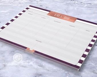 Notepad, Listpad, Deskpad, Mini pad- Plum Stripe - 17008