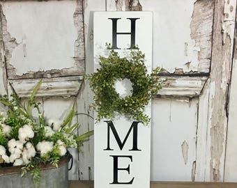 HOME sign with wreath Sign with Wreath Baby Grass Wreath Sign Vertical HOME sign Greenery Wreath Farmhouse Decor