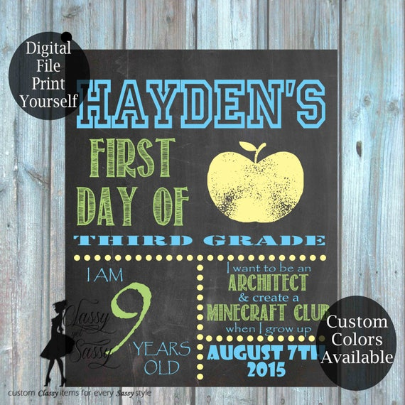 First Day Of School Chalkboard Sign 174