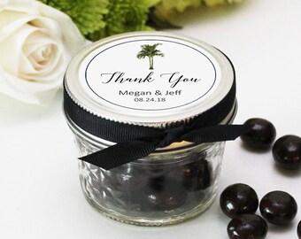 Set of 12 - 4 oz Mason Jar Favors - Vintage Palm Design | Tropical Wedding Favors | Mason Jar Wedding Favors | Palm Tree Wedding Favors