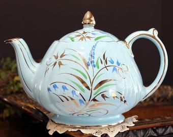 Blue Sadler Teapot, Blue Harebell Tea Pot with Silver Foliage and Trim 13991