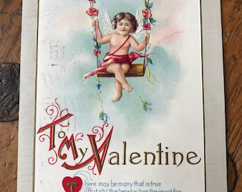 "1915 Vintage Valentine's Postcard ""To My Valentine"" Cupid on Swing, Love, Greeting, Sweetheart"