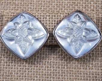 Escada Designer Clear Molded Glass Flower Daisy and Silver Tone Earrings France