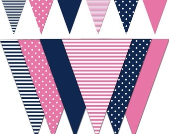 Nautical Banner, Baby Shower Printable Banner, Nautical Theme Party Pennant Banner, Photography, It's a Girl - Instant Download - DP446