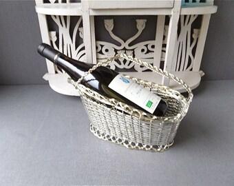 Vintage Wine Bottle Holder , silvered metal wires.