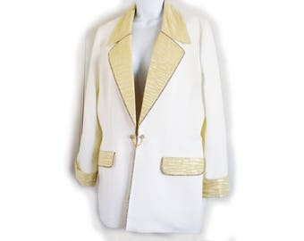 1980s designer GLAM Jacket by Cache / Solini / White/ Gold / Rhinestones / metallic