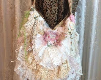 Shabby Doily Bag - Layered Lace Bag - Linen Doilies Bag - romantic lace bag, Victorian lace ruffles, embellished shabby lace purse