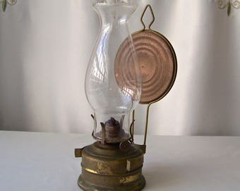 Vintage Oil Lamp Tin Reflector Table or Wall Oil Lantern 1970s