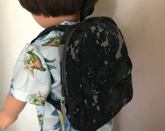 Back Pack for American Girl Boy Doll or Any 18 Inch Doll.  Back Pack for School or Sleep over