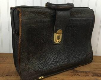 Vintage Leather Brief Case - Vintage Leather Top Handle Bag - Leather Attache