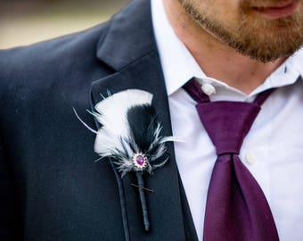 Boutonniere, Feather Boutonniere, Gatsby Boutonniere, Groom Button Hole, Groom/Groomsmen Boutonniere, Vintage Boutonniere, YOUR CHOICE COLOR