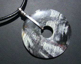 Silver Leaf Jasper Donut Leather Neckwear