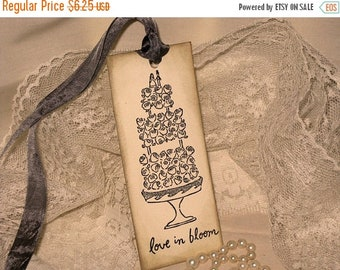 March Sale Elegant Glittered Wedding Cake Gift Tag Wish Tags ECS Love in Bloom