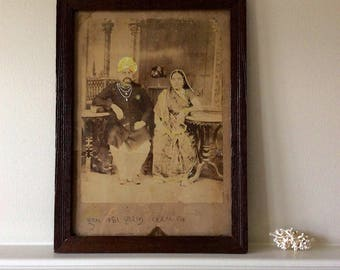 Antique Photo India Photo Wedding Couple Handpainted Shipping Included