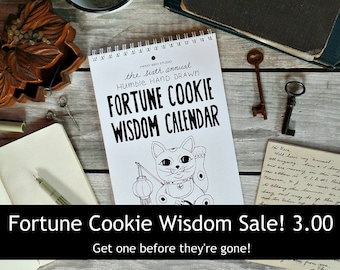 SALE 2017 Fortune Cookie Wisdom Calendar, Chinese Food, 2017 Calendar, 2017 Wall Calendar Chinese takeout, Desk calendar Inspirational gifts