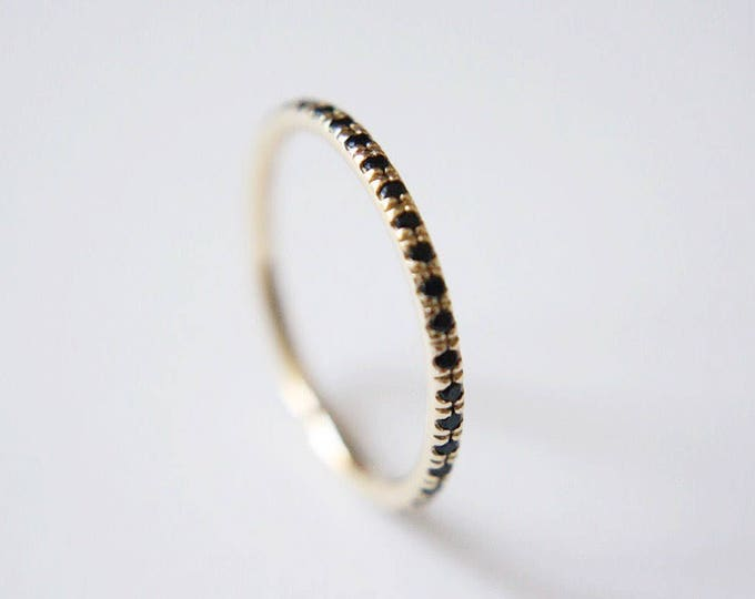 Pave Wedding Band - eternity ring - 14k yellow, rose or white gold with black spinel - diamond alternative - unique wedding jewelry